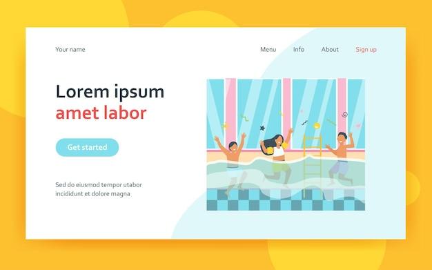 Happy children having fun in swimming pool landing page