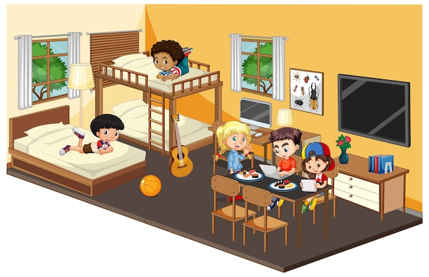 침실 노란색 테마의 행복한 아이들