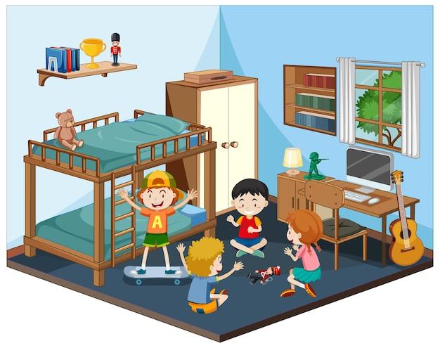 파란색 테마의 침실 장면에서 행복한 아이들