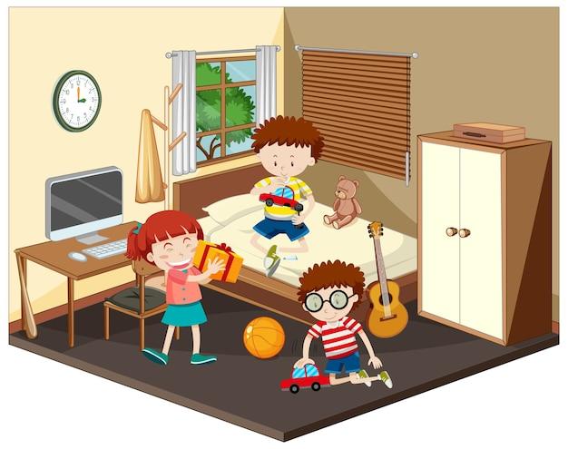 갈색 테마의 침실 장면에서 행복한 아이들