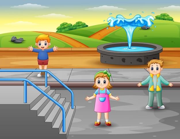 公園のイラストで幸せな子供たち