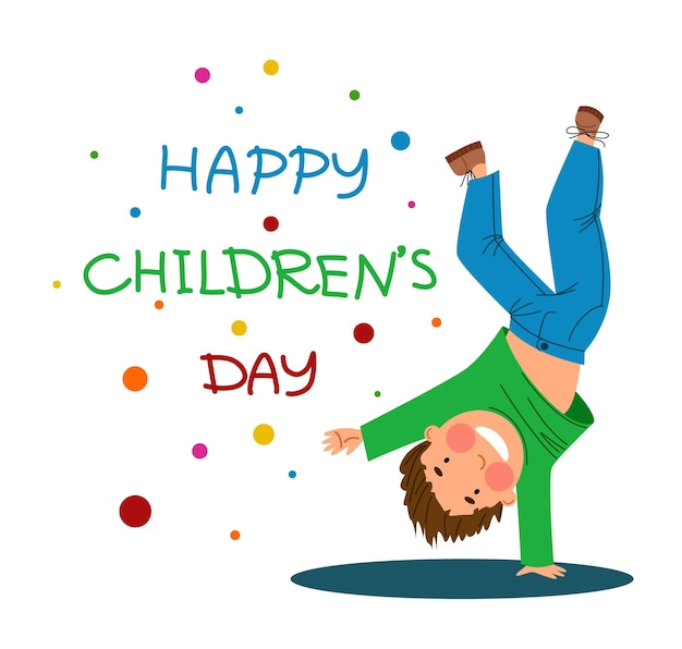 Happy children is a day funny boy stands on one hand