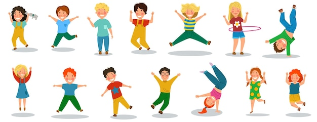 Happy children is a day. a set of funny little kids who jump and rejoice. vector illustration in a flat cartoon style.