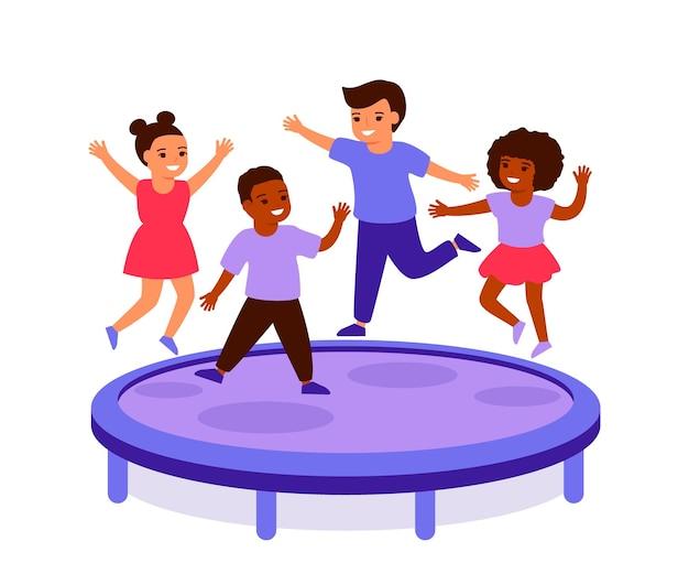 Happy children jump on trampoline