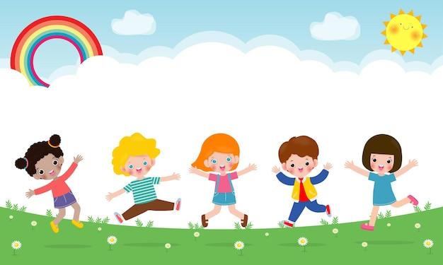 幸せな子供たちが公園で一緒にジャンプして踊る子供たちの活動遊び場で遊ぶ子供たち広告パンフレットのテンプレートあなたのテキストフラット面白い漫画孤立したイラスト