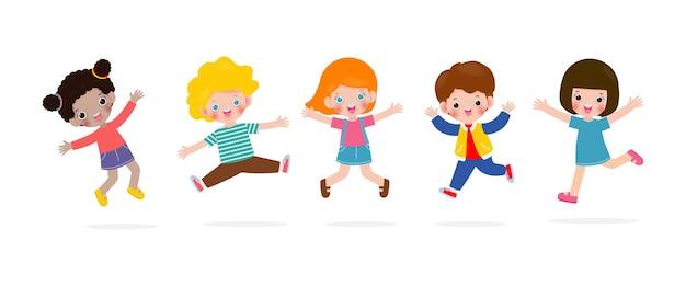 幸せな子供たちがジャンプして踊る