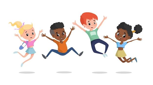 점프 하 고 웃 고 행복 한 아이입니다. 다민족 학교 나이 어린이 그림.