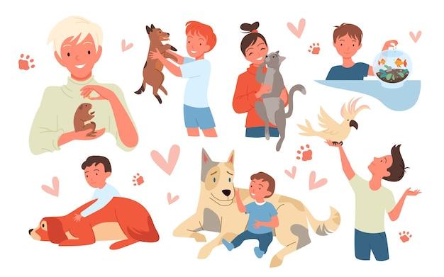 幸せな子供たちはペットのベクトルイラストセットが大好きです。ハムスターとオウムを保持している笑顔の子供のキャラクター、