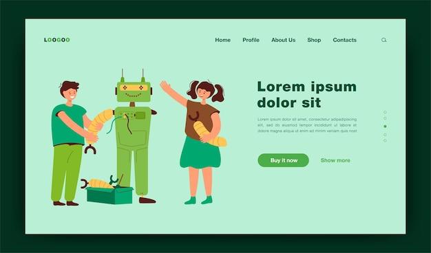 Bambini felici che fanno robot per l'illustrazione piana del progetto scolastico. studenti del fumetto che imparano la robotica con l'insegnante. pagina di destinazione del concetto di tecnologia e istruzione di ingegneria