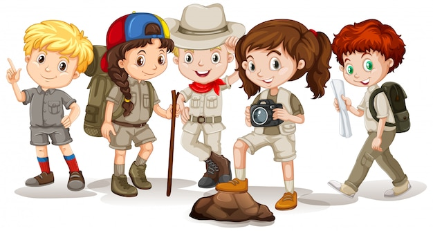 Happy children in outdoor outfit