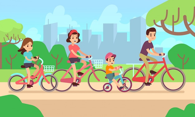 Happy children and parents riding bikes.