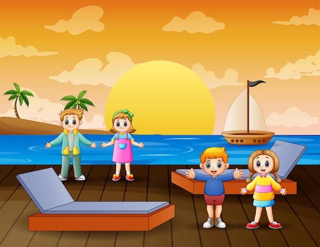 Happy children on the pier illustration