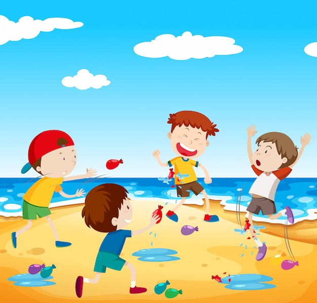 Happy children play balloon fight at the beach