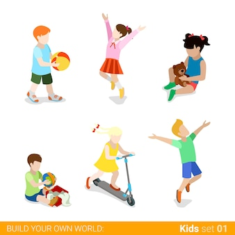 Happy children at play parenting  web infographic concept  icon set.