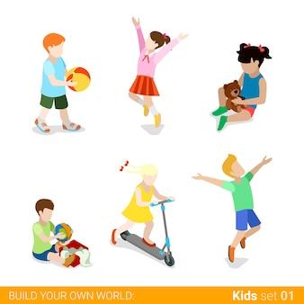 Bambini felici che giocano genitorialità web infografica concetto icona set.