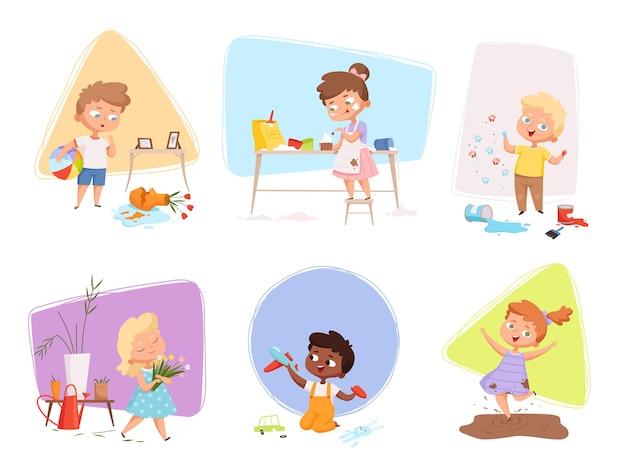 Счастливые дети играют и занимаются разными видами деятельности