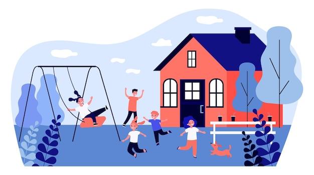 裏庭のイラストを遊んで幸せな子供たち