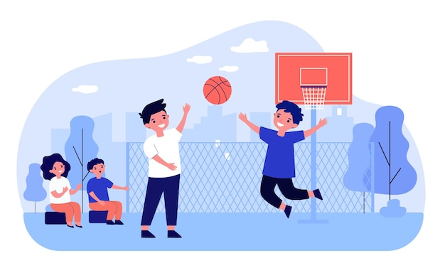 Happy children playing basketball outdoors. ball, street, player flat vector illustration. entertainment and sport game concept for banner, website design or landing web page