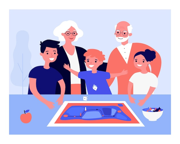 Happy children playing board game with grandparents on table. people watching boy throwing dice flat vector illustration. family, entertainment concept for banner, website design or landing web page