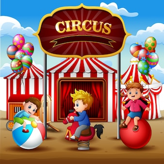 Happy children playing on the circus arena