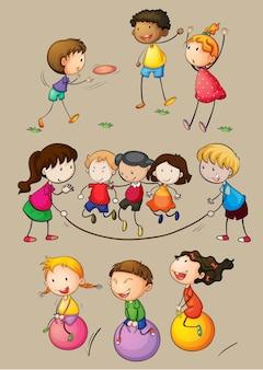 ゲームをしている幸せな子供たち