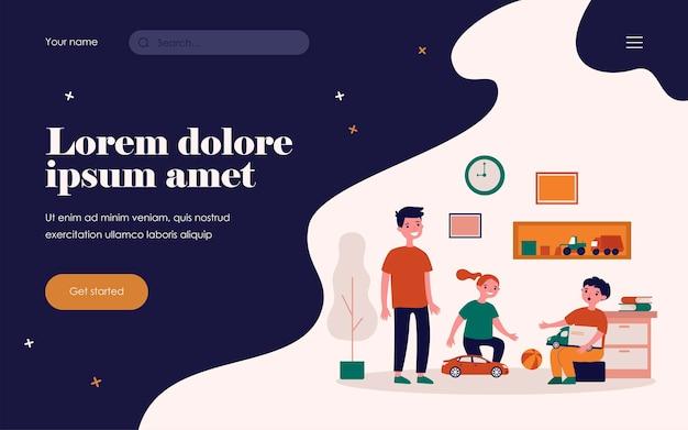 Счастливые дети, играющие в комнате вместе. игрушка, автомобиль, забавная плоская векторная иллюстрация. концепция игры и детства для баннера, веб-дизайна или целевой веб-страницы