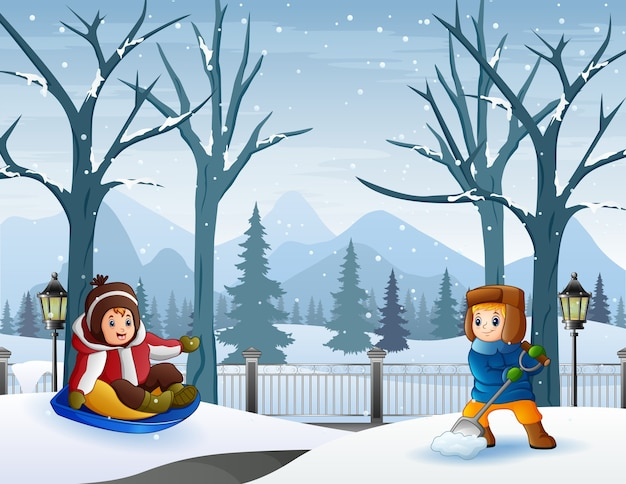 Happy children playing outdoors in winter