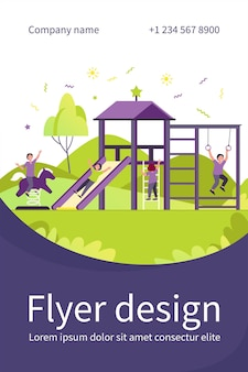 Happy children playing on playground with friends isolated flat flyer template