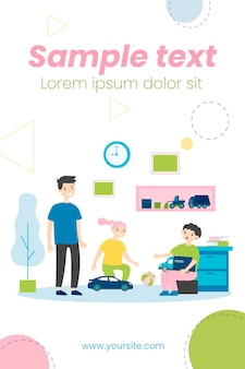 Happy children playing in room together illustration