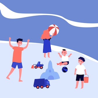 Happy children playing on sea beach. ball, sand castle, boy   illustration. summer vacation and childhood concept for banner, website  or landing web page