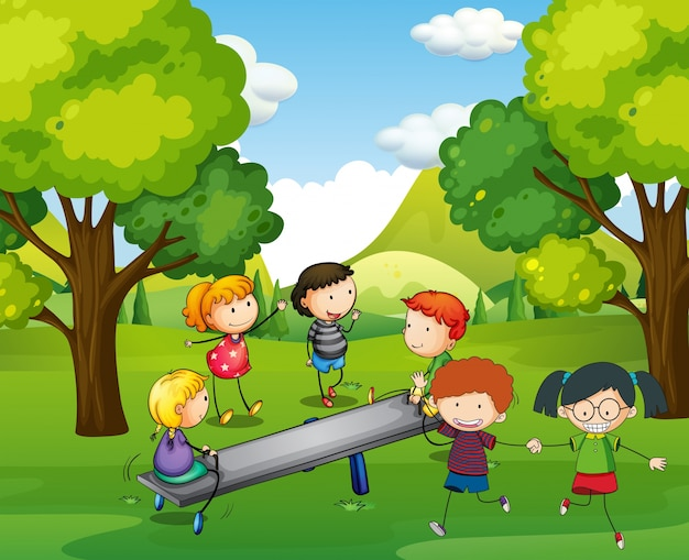 Happy children playing seesaw in park