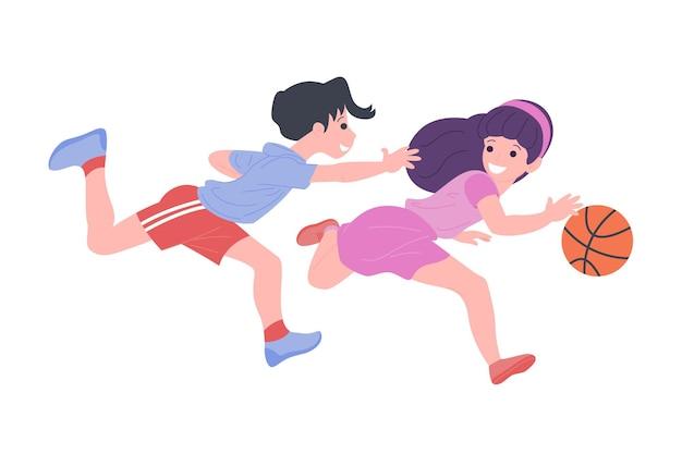 スポーツゲームをしている幸せな子供たち。運動をしている男の子と女の子。バスケットボールをしている子供たち。アクティブで健康な子供時代。白い背景で隔離のフラットベクトル漫画イラスト