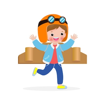 Happy children playing toy plane cardboard, little cute kid in an astronaut costume, portrait of funny child on a white background isolated  illustration