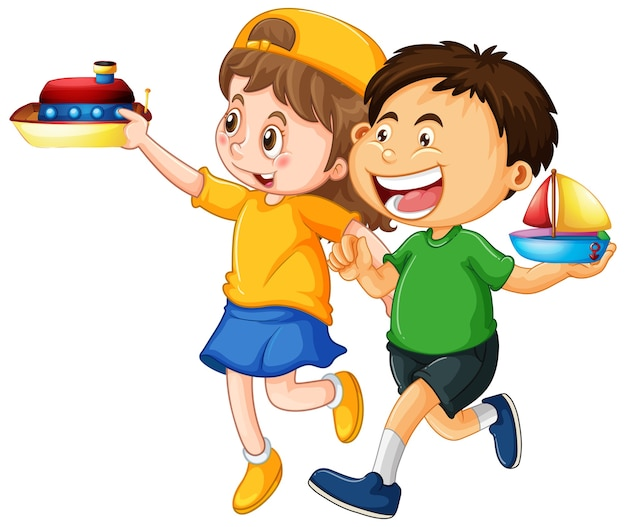Happy children playing toys