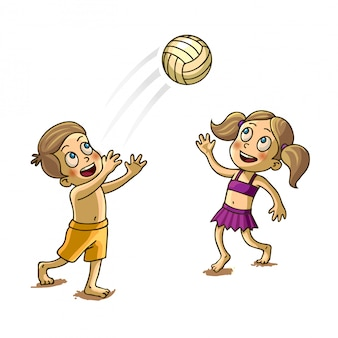Happy children playing with a ball vector illustration