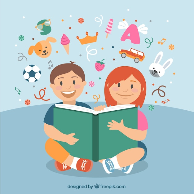 Happy children reading a book