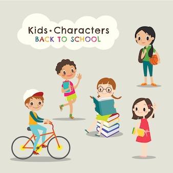 Happy children reading books back to school cartoon