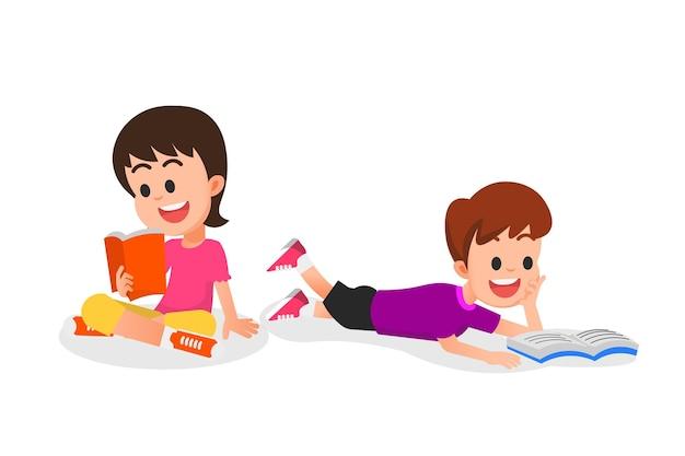 Счастливые дети читают книги иллюстрации