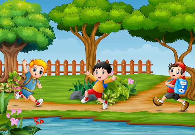 Happy children running around in beautiful nature