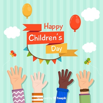 Happy children's day background in flat design with kids hands