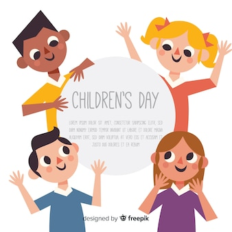 Happy children's day background in flat design
