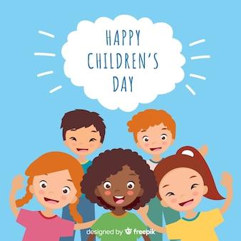Счастливый детский день фон в плоском дизайне