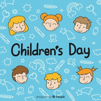 Happy children's day background in hand drawn style