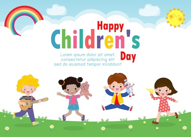 Happy children's day background with happy kids jumping and holding toys isolated  illustration