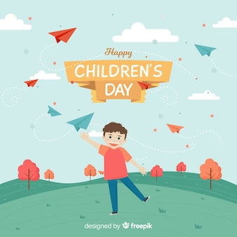 Happy children's day background with kid flying paper planes