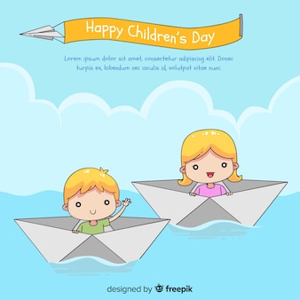 Happy children's day background with kids in paper boats in hand drawn style