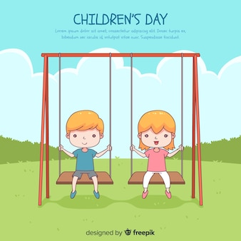 Happy children's day background with kids in swing in hand drawn style