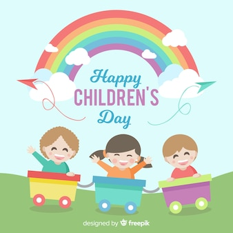 Happy children's day background with kids in train and rainbow