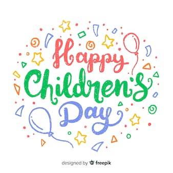 Happy children's day background with lettering