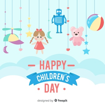 Happy children's day background with toys